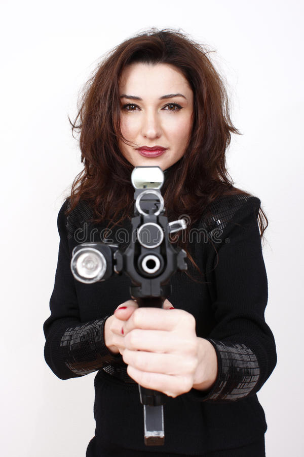 härlig trycksprutakvinna för anfall royaltyfri bild
