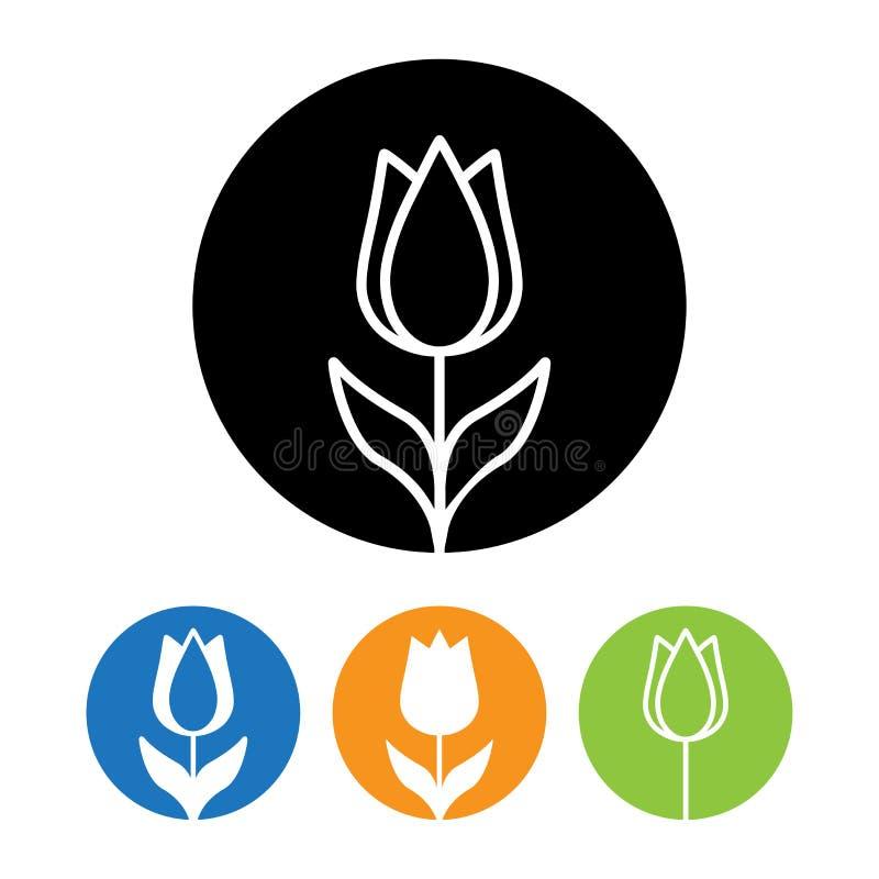 Härlig tulpanblommasymbol och logo i moderiktig linjär stil vektor illustrationer