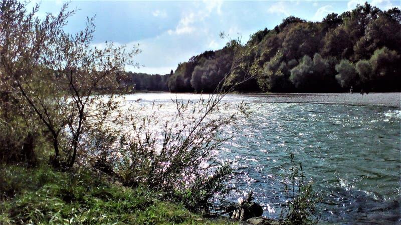 Härlig Tyskland Munich Isar för natur för flodsiktsvatten royaltyfri bild