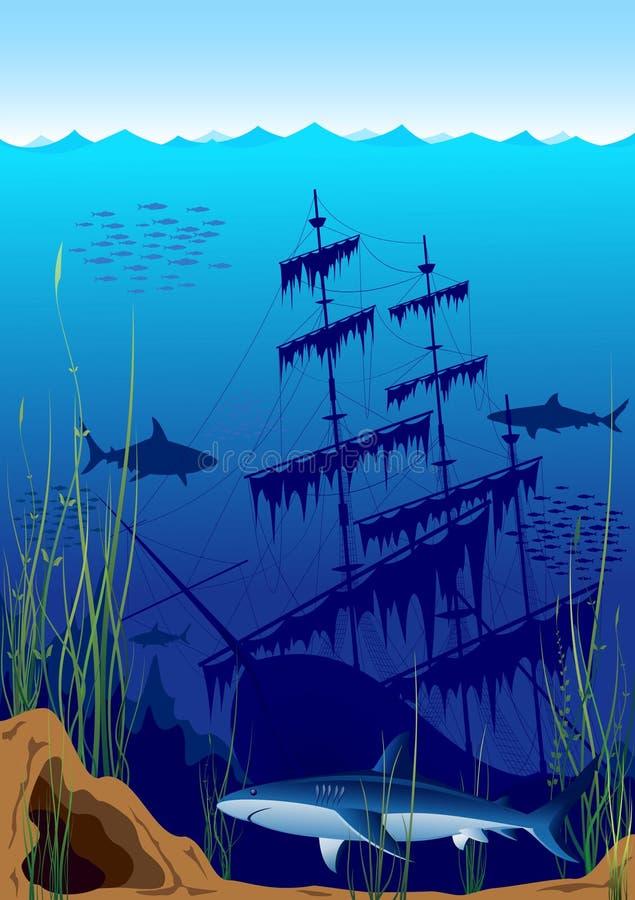 härlig undervattens- värld stock illustrationer