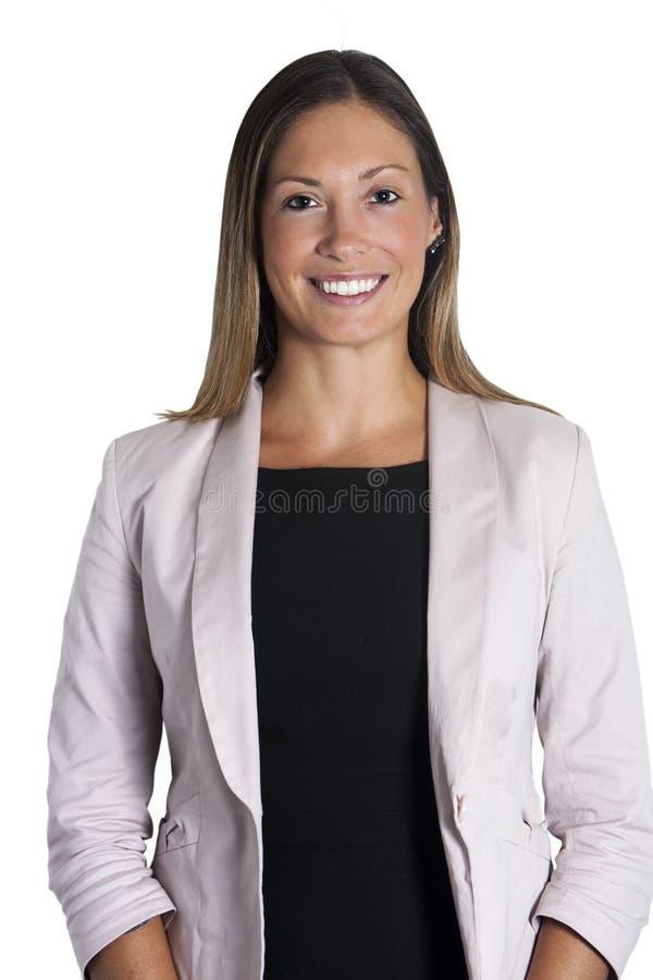 Härlig ung affärskvinna som ler med rakt hår på vit royaltyfri fotografi