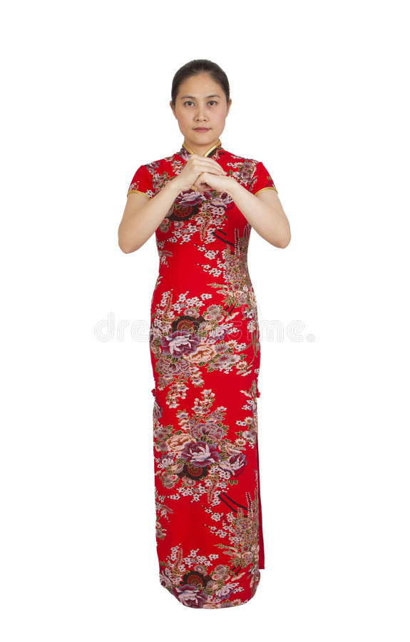 Härlig ung asiatisk kvinna med gest av lyckönskan, happ royaltyfria foton