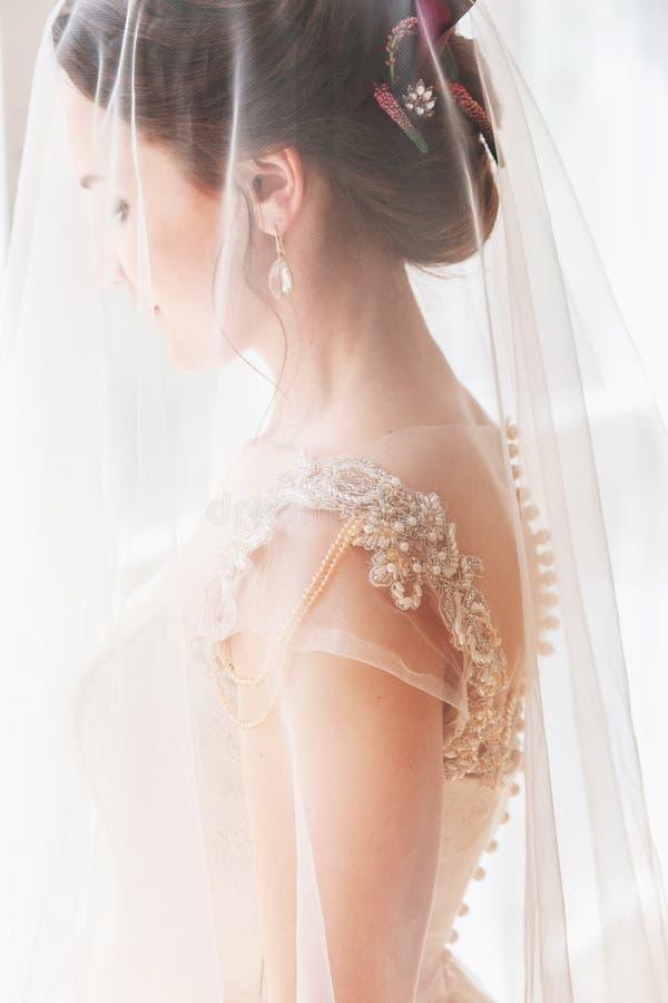 Härlig ung brud med bröllopmakeup och frisyr i sovrum Den härliga brudståenden med skyler över hennes framsida Closeupportr royaltyfri fotografi