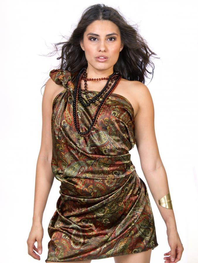 Härlig ung brunettkvinnlig i den paisley klänningen royaltyfri bild