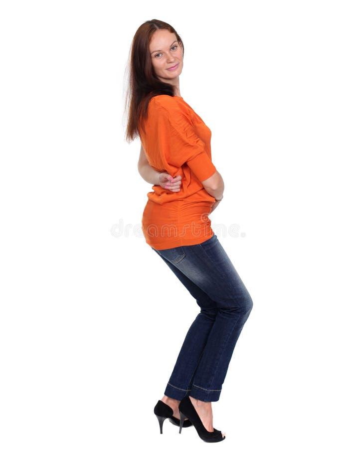 Download Härlig ung dam i jeans fotografering för bildbyråer. Bild av stående - 37349353