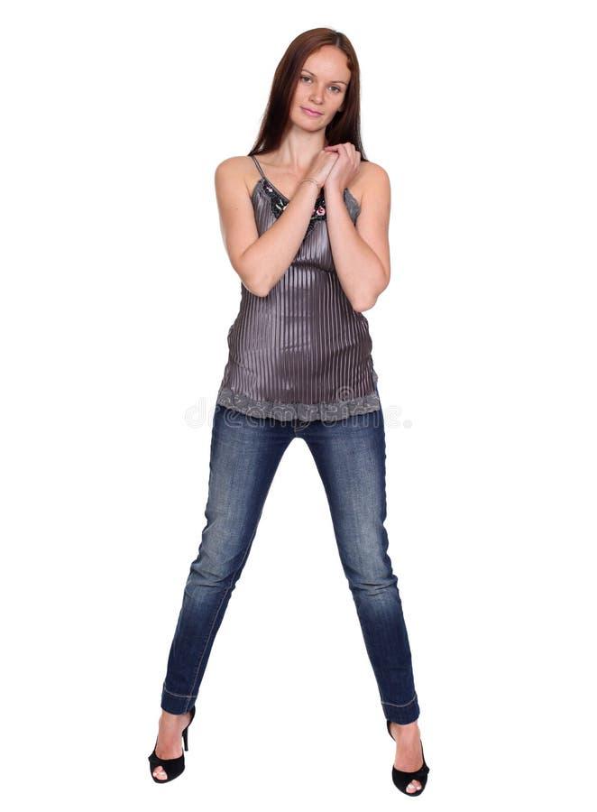 Download Härlig ung dam i jeans arkivfoto. Bild av elegantt, härlig - 37349452