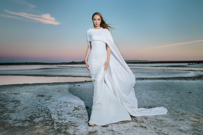 Härlig ung flicka i en modeklänning royaltyfri fotografi