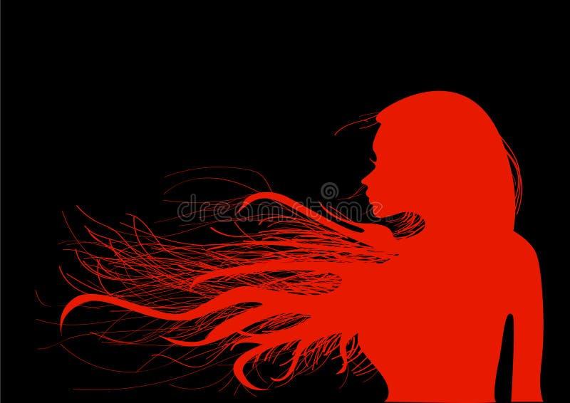 Härlig ung flicka med hennes hår i ljust rött, på en svart bakgrund royaltyfri bild