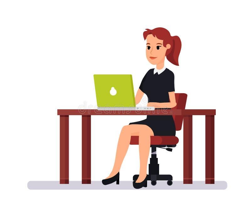 Härlig ung flickakontorsarbetare vektor illustrationer