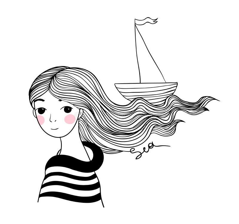 Härlig ung flickasjöman med skeppet i hennes hår stock illustrationer