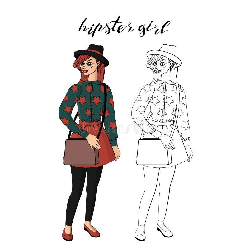 Härlig ung hipsterflicka i stilfullt tappningdräktanseende royaltyfri illustrationer