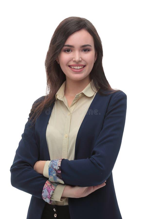 Härlig ung isolerad vit bakgrund för affärskvinna arkivfoto