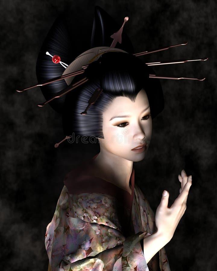 Härlig ung japansk kvinna med skuggig belysning stock illustrationer