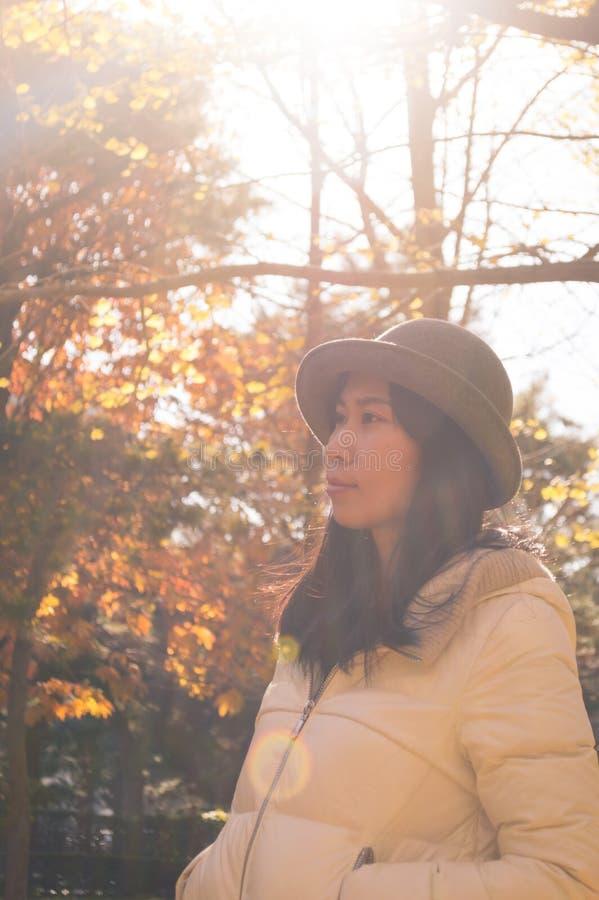 Härlig ung kvinna 3 för asiatisk höst royaltyfria bilder