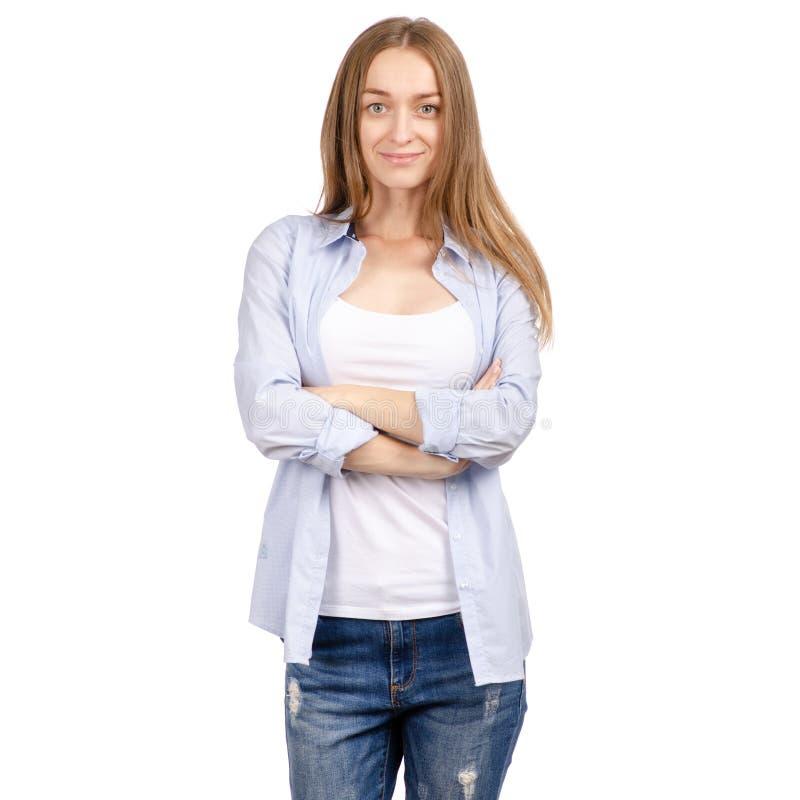 Härlig ung kvinna, i att le för skjorta och för jeans arkivbilder