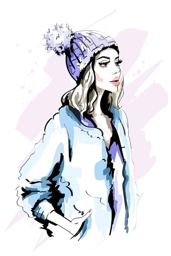Härlig ung kvinna i stucken hatt med pälspomen-Pom Hand dragen stilfull kvinnastående fashion ladyen Vinterdräkt royaltyfri illustrationer