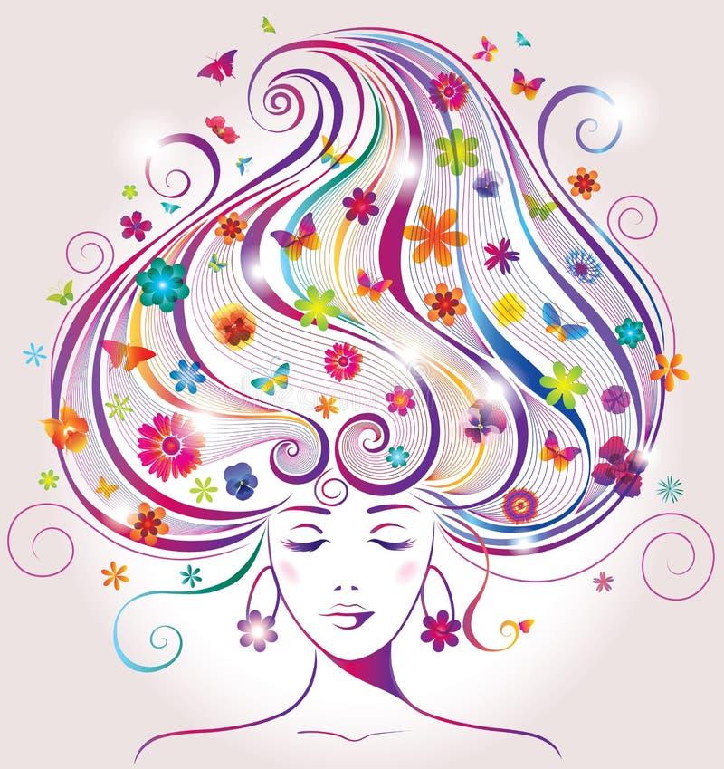 Härlig ung kvinna med blommor och fjärilar stock illustrationer
