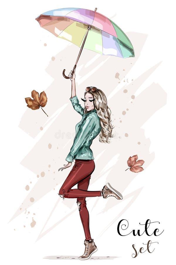 Härlig ung kvinna med det färgrika paraplyet Stilfull hand dragen flicka i modekläder fashion kvinnan skissa royaltyfri illustrationer