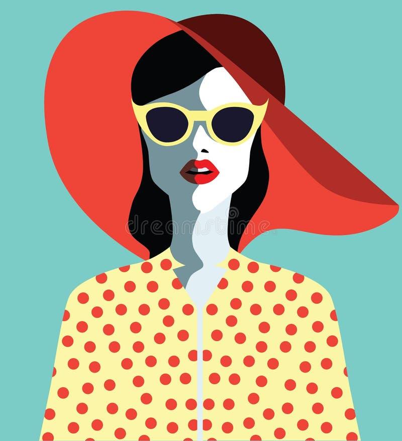 Härlig ung kvinna med solglasögon och vattenmelon, retro stil vektor illustrationer