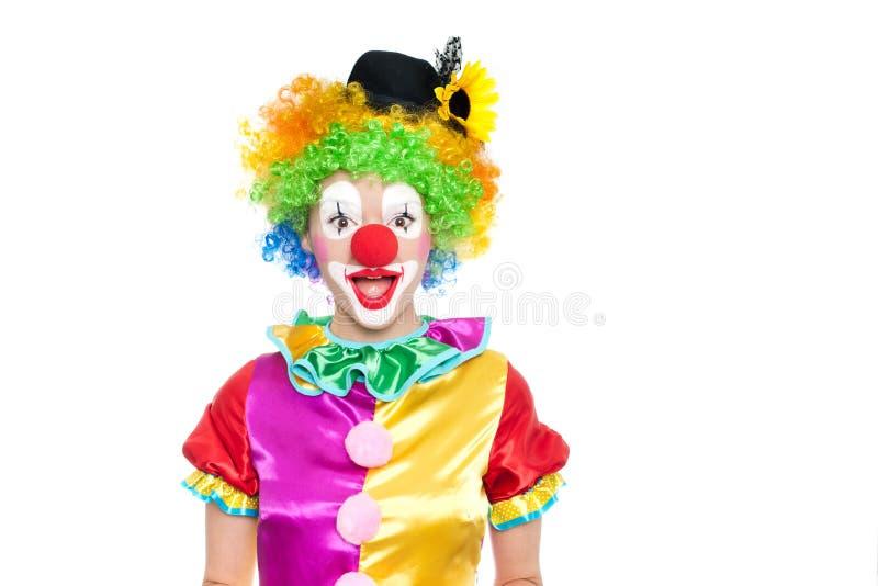 Härlig ung kvinna som clown royaltyfria bilder