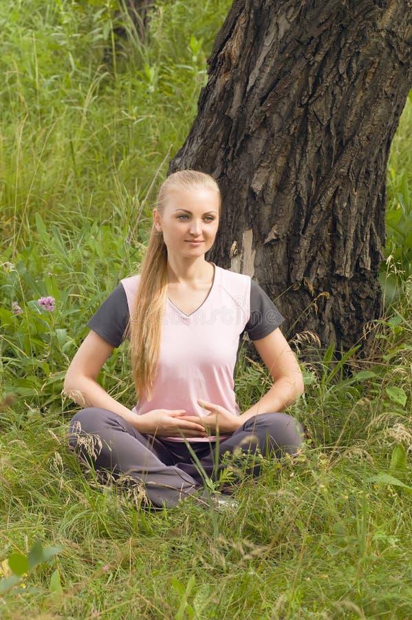 Härlig ung kvinna som kopplar av i skog under arkivfoton
