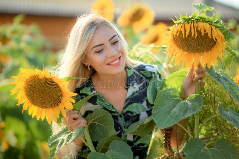 Härlig ung kvinna som poserar nära solblommor sommarstående på fältet Lycklig kvinna i skönhetfält med solrosor arkivfoto