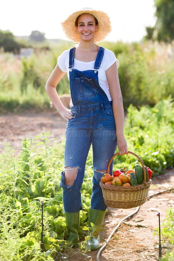 Härlig ung kvinna som ser kameran, medan rymma korgen med nya grönsaker från trädgården arkivfoton