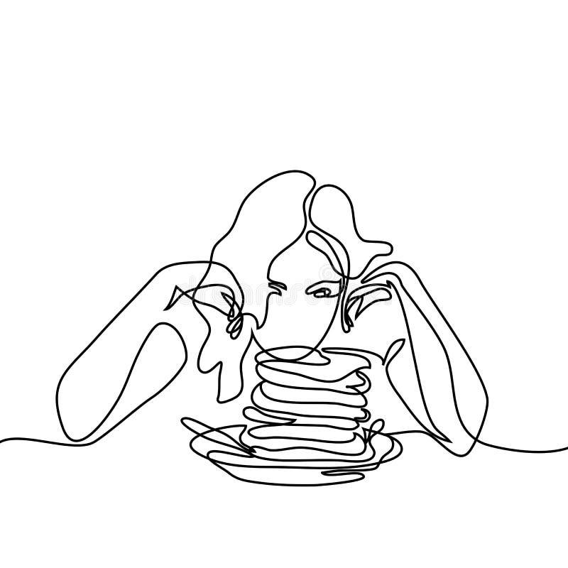 Härlig ung kvinna som ser pannkakor vektor illustrationer