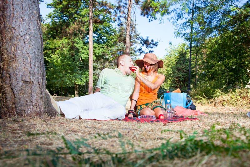 Härlig ung man och kvinna på picknick i skog royaltyfri bild