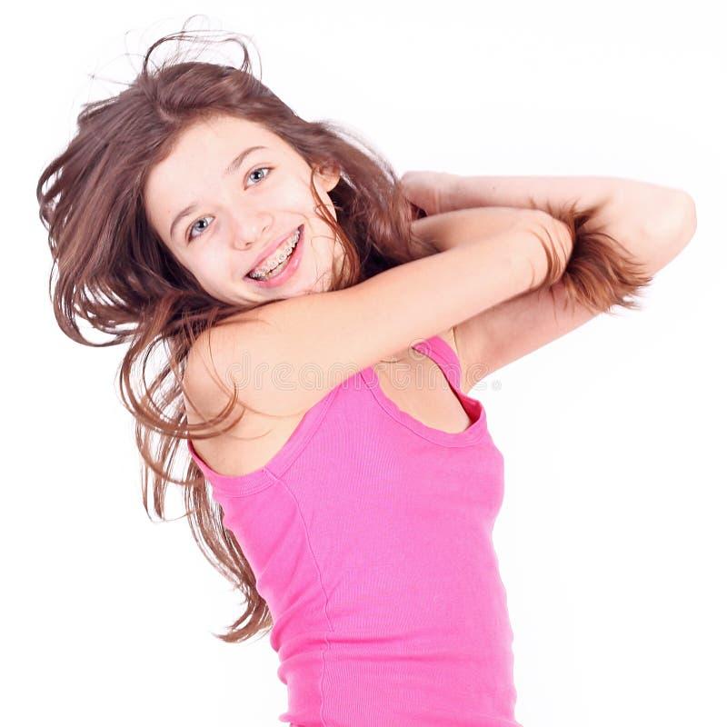 Härlig ung teen flicka med konsoler fotografering för bildbyråer