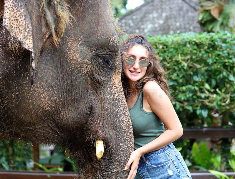 Härlig unik elefant med flickan på en elefantbeskyddreservation i Bali Indonesien arkivfoton