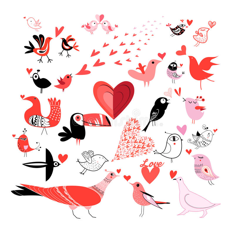 Härlig uppsättning av diagram som mycket är förälskade med fåglar stock illustrationer