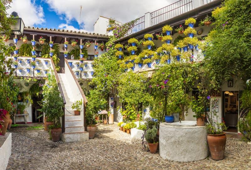 Härlig uteplats med blommor i Cordoba, Spanien royaltyfri foto