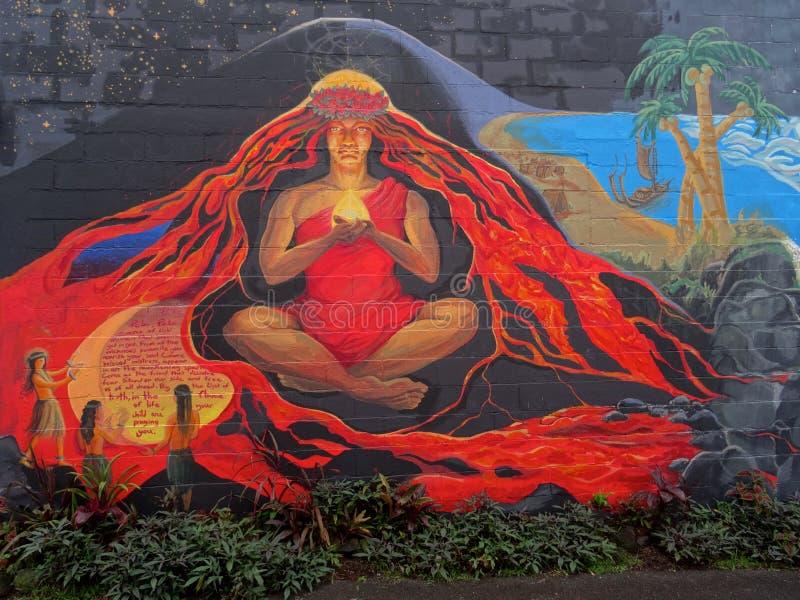 Härlig väggmålning av gudinnan Pele royaltyfri fotografi