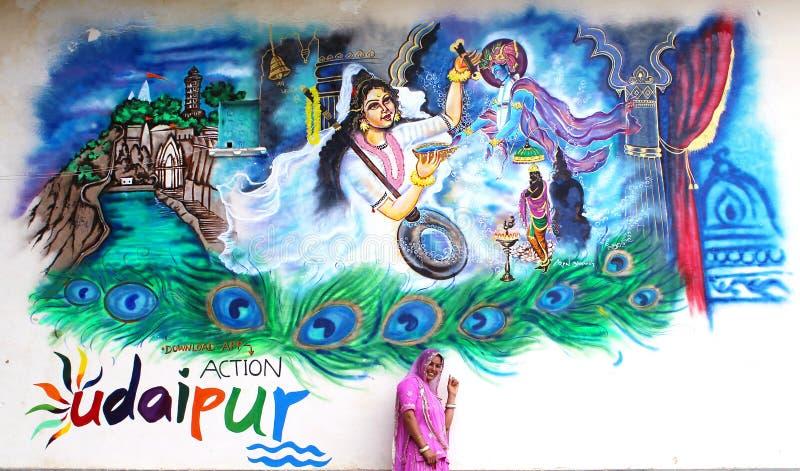 Härlig väggmålning av lord Krishna royaltyfri illustrationer