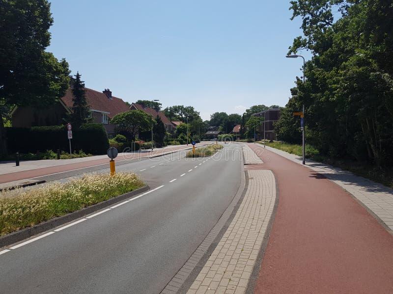 Härlig väl underhållen väg med breda cirkuleringsgränder i Bloemendaal, Nederländerna royaltyfri fotografi