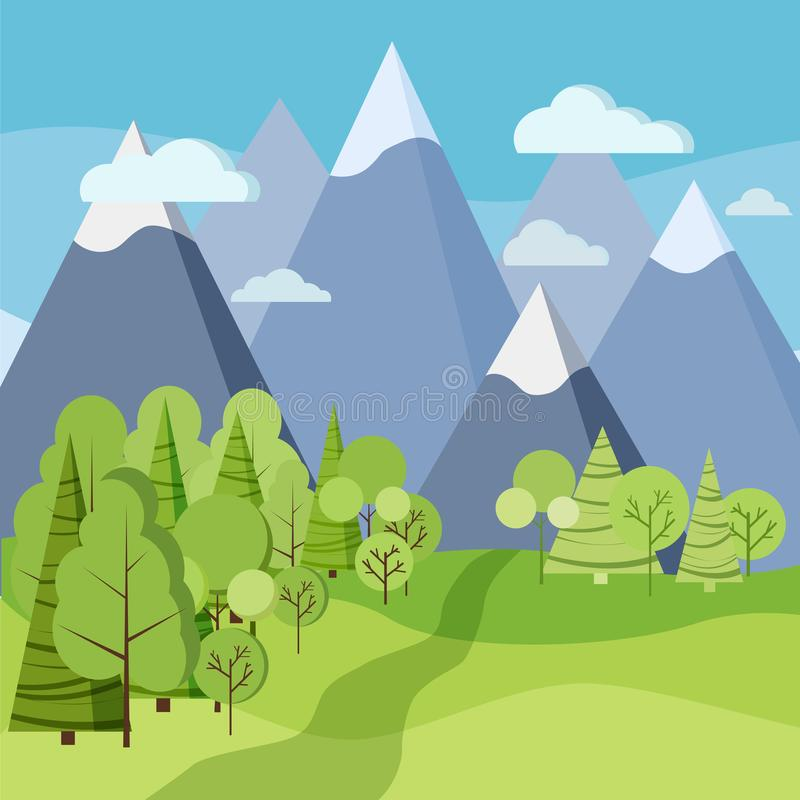 Härlig vår eller sommarlandskap med gröna träd, granar, fält, berg, moln royaltyfri illustrationer