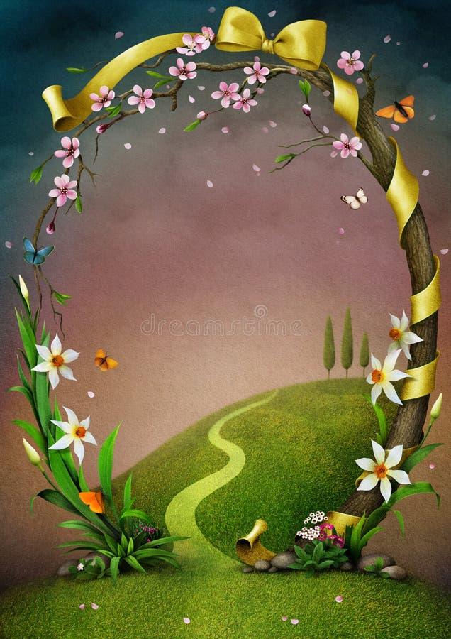 Härlig vårram med blommor. royaltyfri illustrationer