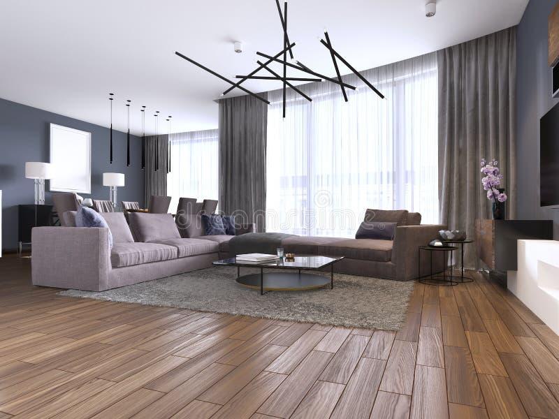 Härlig vardagsrum som är inre med ädelträgolv och violett färg för stor hörnsoffa i nytt lyxigt hem Modern stil stock illustrationer