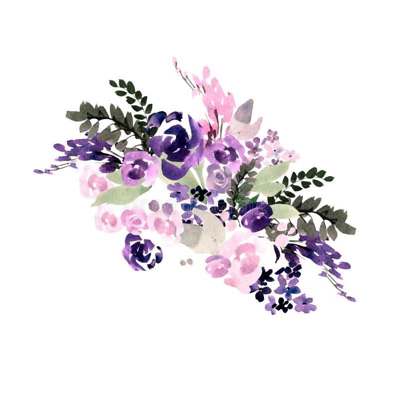 Härlig vattenfärgbröllopbukett med purpurfärgade blommor vektor illustrationer