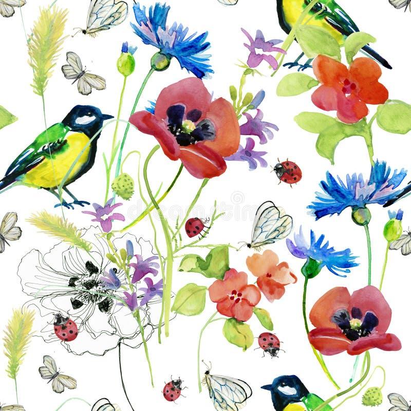 Härlig vattenfärgsommarträdgård som blommar blommor vektor illustrationer