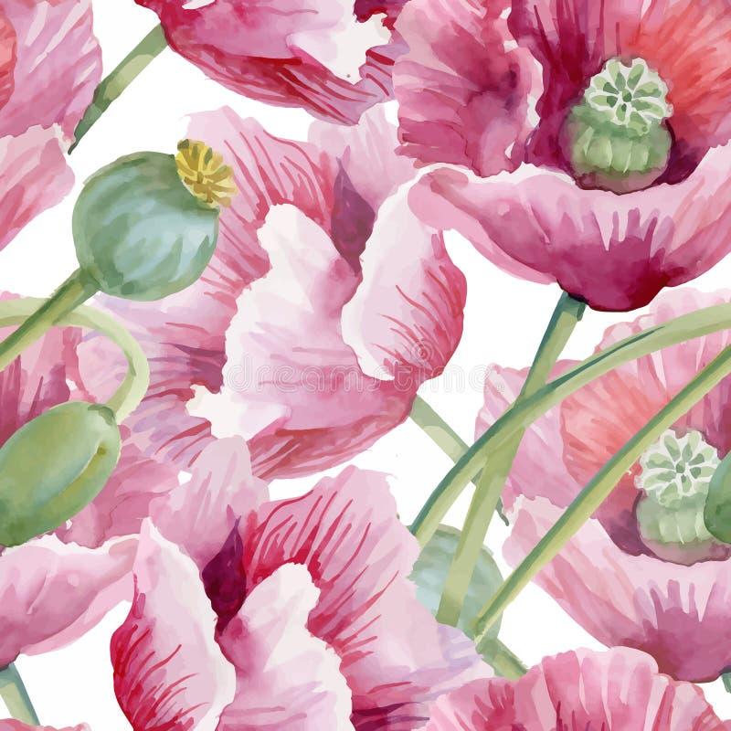 Härlig vattenfärgsommarträdgård som blommar den sömlösa modellen för blommor stock illustrationer