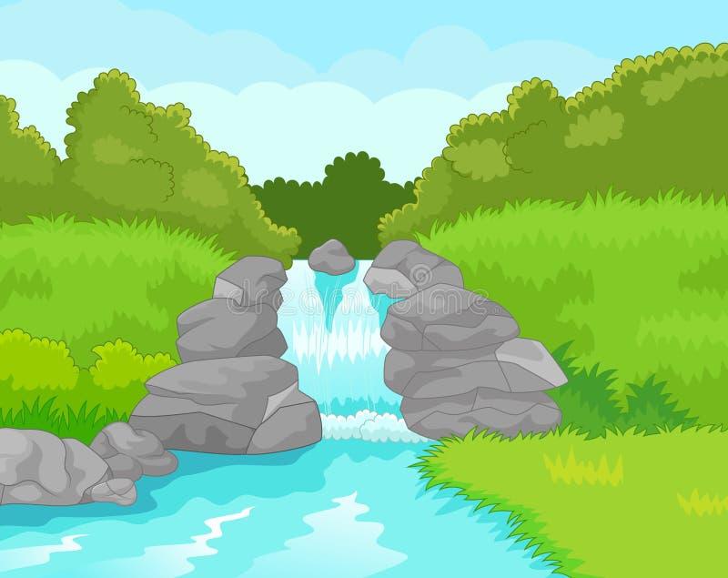 härlig vattenfall vektor illustrationer