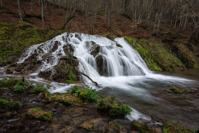 Härlig vattenfall Dokuzak i det Strandzha berget, Bulgarien skyen för showen för växter för rörelse för den förfallna för fältet  fotografering för bildbyråer
