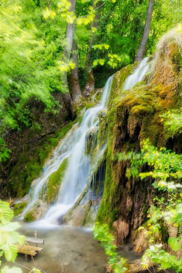 härlig vattenfall i den gröna skogen i Skra på norr Grekland royaltyfri fotografi