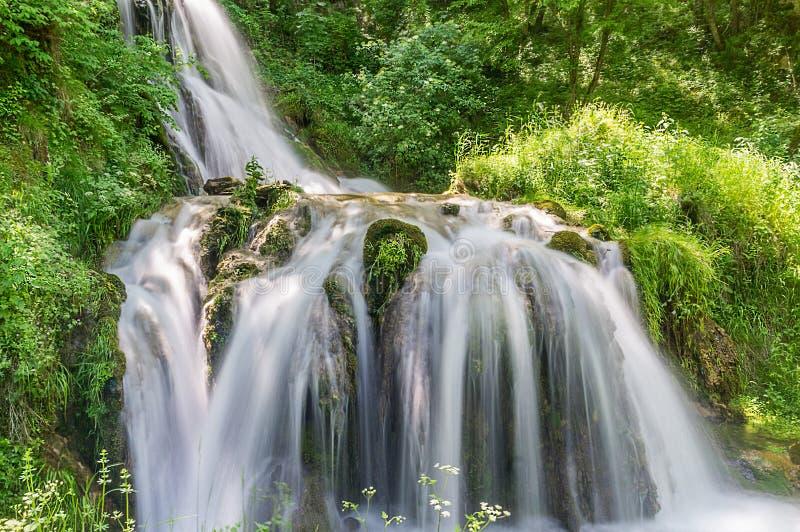 Härlig vattenfall i det mest forrest berget royaltyfri fotografi