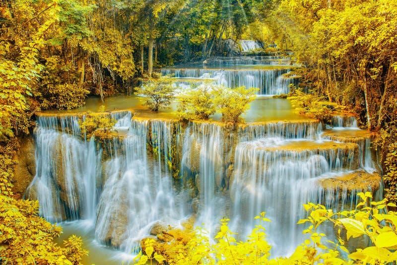 Härlig vattenfall i höstskog med strålljus arkivbild
