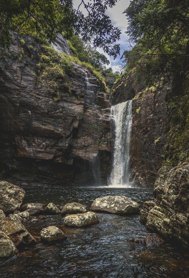 Härlig vattenfall i Sri Lanka royaltyfria foton