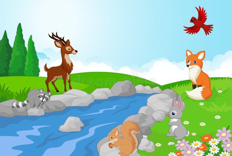 Härlig vattenfall med vilda djur stock illustrationer