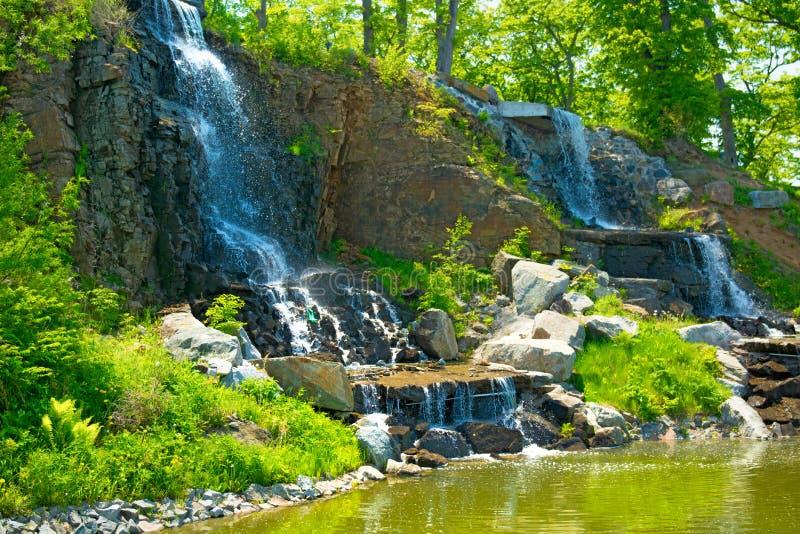 Härlig vattenfall under solljus, många härliga vattenstrålar som omges av gröna skogar royaltyfria bilder